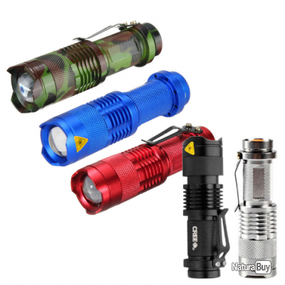Mini Lampe Torche Led Cree Q5 7 Watt 700lm 3 Modes Avec Zoom