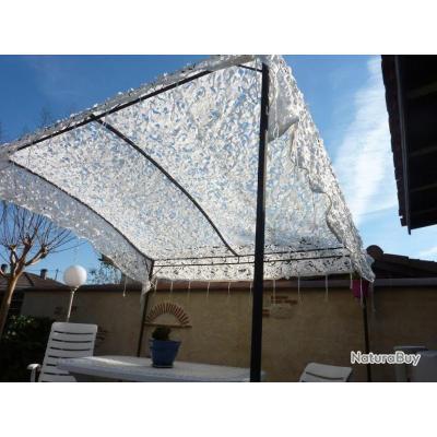 Filet arm e anglaise blanc renforc rideau pergola tonnelle terrasse 3 x 6m filets de - Filet de camouflage pour pergola ...
