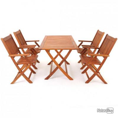 table de jardin 1 table 4 chaises en bois acacia pliable mobilier 3277257. Black Bedroom Furniture Sets. Home Design Ideas