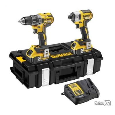 dewalt kit de 2 machines 18v 2x5ah li ion perceuse. Black Bedroom Furniture Sets. Home Design Ideas