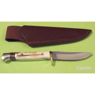 Couteau de Chasse Frost Lame Acier Carbone/Inox Manche Bois de Cerf Etui Cuir FTS179DS