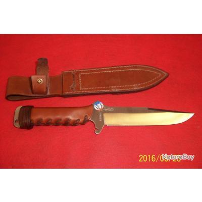 WILD STEER, fabrication Française, lame de 17cms, étui cuir et manche en cuir,