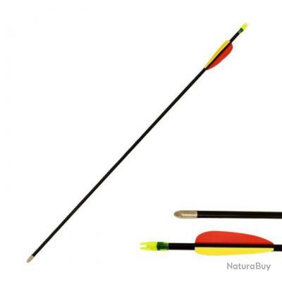 Flèche de tir à l'arc 28 pouces (73cm), fibre de verre, noire