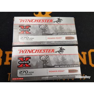 20 Balles winchester 270 WSM 150 grains power point