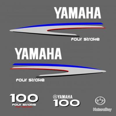 1 kit stickers yamaha 100 cv serie 2 pour capot moteur - Housse capot moteur hors bord ...