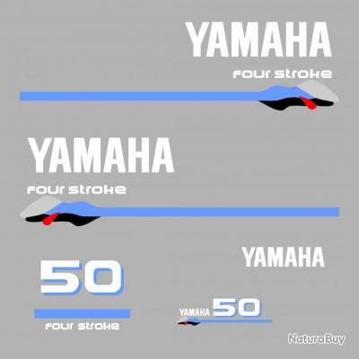 1 kit stickers yamaha 50cv serie 3 pour capot moteur hors - Housse capot moteur hors bord ...