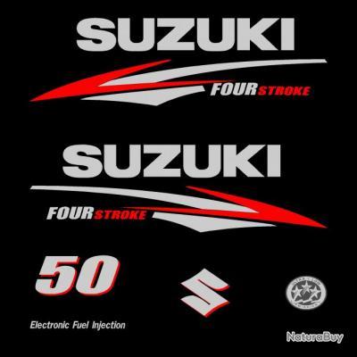 1 kit stickers suzuki 50cv serie 2 pour capot moteur hors - Housse capot moteur hors bord ...