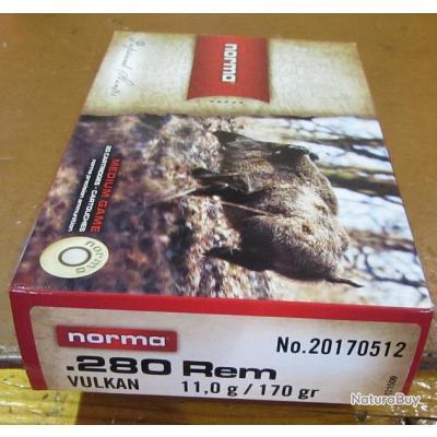 1 boite neuve de 20 cartouches  de calibre 280 Remington, Norma Vulkan 170grs,