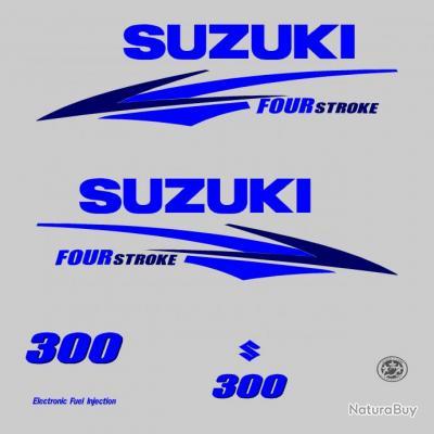 1 kit stickers suzuki 300cv serie 2 bleu pour capot moteur - Housse capot moteur hors bord ...