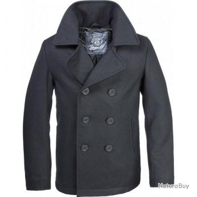 Laine Noir Brandit Pea Taille Coat Vestes Xs Caban Marin Manteau fxIwBaqT