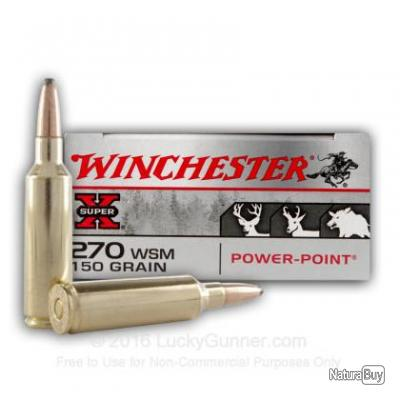 Boite de 20 balles winchester 270 wsm power point 150 gr balles calibre 270 wsm 3493662 - Table balistique winchester ...