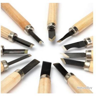 lot de 12 mini outils pour sculpture bois os gouge ciseau de sculpteur ciseaux bois. Black Bedroom Furniture Sets. Home Design Ideas
