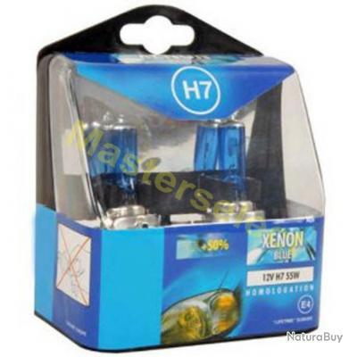 2 x ampoule de phare feux 12v h7 55w xenon bleu pour voiture auto homologu route promo pi ces. Black Bedroom Furniture Sets. Home Design Ideas