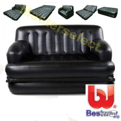 divan canap lit fauteuil gonflable 5 en 1 noir pour camping d 39 appoint pompe electrique promo. Black Bedroom Furniture Sets. Home Design Ideas