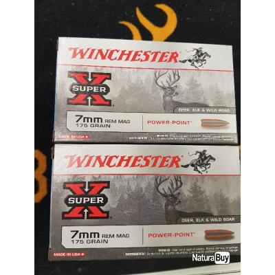 Balles winchester 7mm REM MAG 175 grains power point