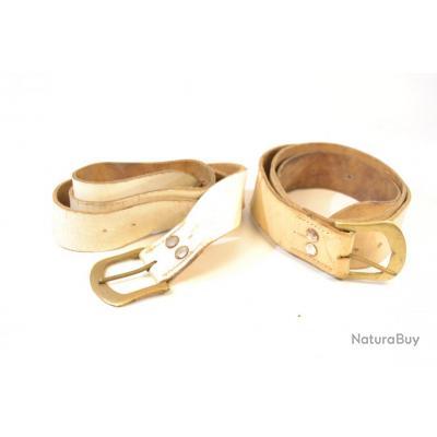 Lot de deux ceinturons   ceinturon ceinture en cuir blanc avec boucle  laiton. Reconstitution Empire 2fff2f5b61f
