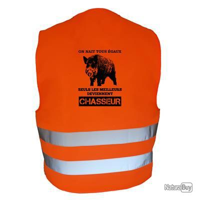 Gilet de chasse Orange - On nait tous égaux, les meilleurs deviennent chasseurs - sanglier