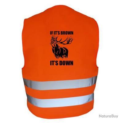 Gilet de chasse Orange - if it's brown it's down - cerf 2