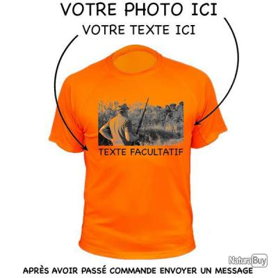 sélection premium cfa06 1121f Tee-shirt chasse respirant orange -personnalisable photo + texte- 2