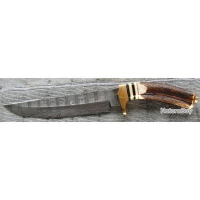 Couteau BOWIELame DAMAS 256 Couches Manche BOIS DE CERF DM1006