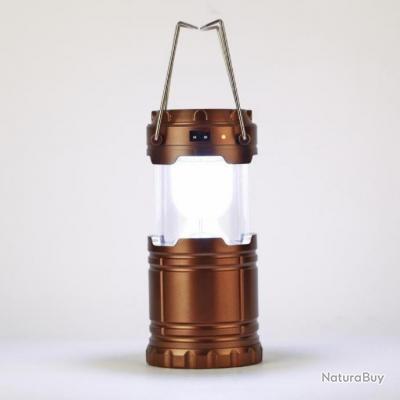 lampe camping 6 led rechargeable solaire secteur ou usb lanterne a main marron enchere. Black Bedroom Furniture Sets. Home Design Ideas