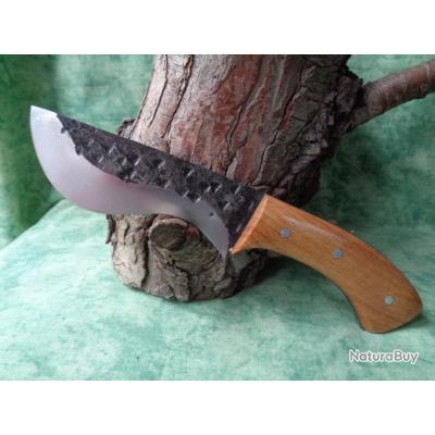 Bushcraft Couteau de Chasse Lame Forgée Carbone 1095 5mm Epaisseur Fab Artisanale Manche Bois
