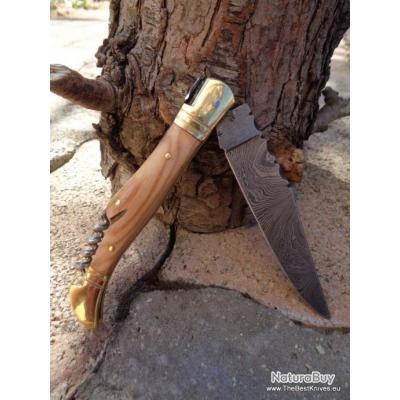 Couteau Damas Lame 128 couches Style Laguiole Manche Olivier Dos Guilloché Abeille Tire-Bouchons d4