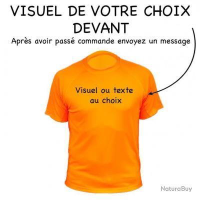 Tee-shirt technique respirant orange fluo personnalisable devant + derrière