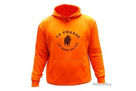 Sweat de chasse avec capuche Orange Sanglier noir