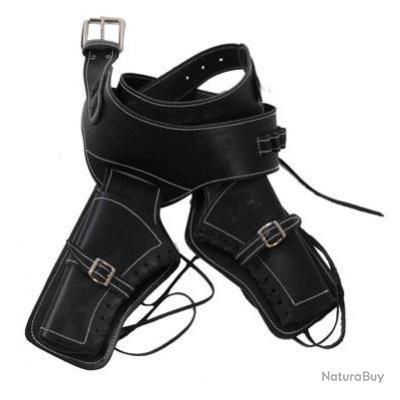 Ceinturon double holster noir pour 2 revolvers western