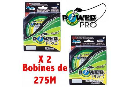 LOT DE 2 BOBINES DE TRESSE POWER PRO VERTE GREEN LINE. BOBINE DE 275M