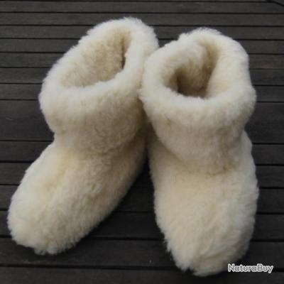 chaussons en 100 laine de mouton avec semelle souple 27 au 44 couleur cru chaussons 3660666. Black Bedroom Furniture Sets. Home Design Ideas