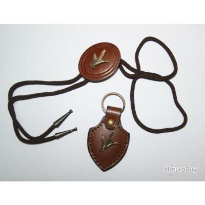 VALGANCH - Parure porte-clés et cravate de chasse, figure canard