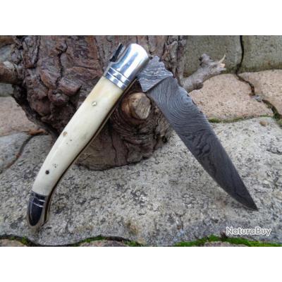 Couteau Damas Lame 128 couches Façon Laguiole Abeille Couteau de Berger Manche Os Fab Artisanale001