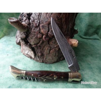 Couteau Damas Lame 128 couches Façon Laguiole Manche Bois Fleur Incrustée Laiton