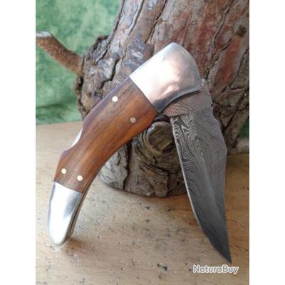 Couteau Façon Couteau Corse Curnicciolu Lame Damas 128 Couches Manche Bois Lockback Fabr Artisanale