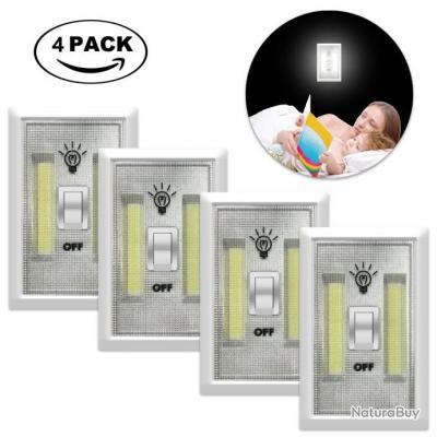4x commutateurs interrupteurs led cob sans fil 2w 1v. Black Bedroom Furniture Sets. Home Design Ideas