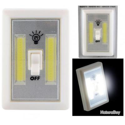 2x commutateurs interrupteurs led cob sans fil 2w 1v piles in outdoor lampes 3693958. Black Bedroom Furniture Sets. Home Design Ideas