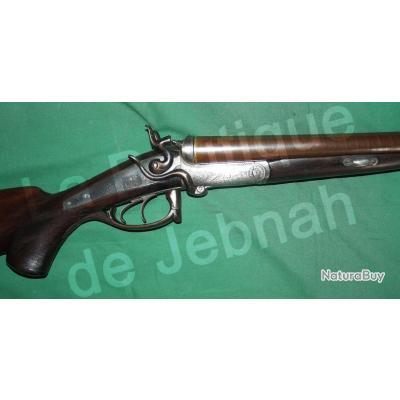 Beau fusil de chasse juxtaposé canon damas allemand à clef serpent XIXe