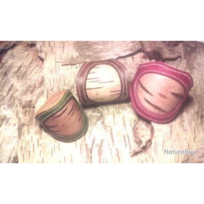 Bracelet Large en cuir et écorce de bouleau