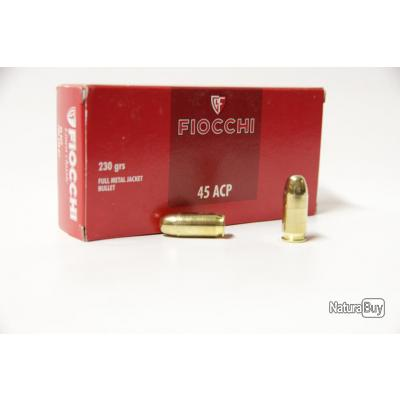 50 Munitions Fiocchi calibre 45 ACP 230 grs FMJ