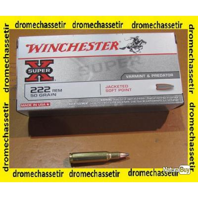boite de 20 Cartouches Winchester, cal 222 Remington, ogives 50 grs SP jacketed