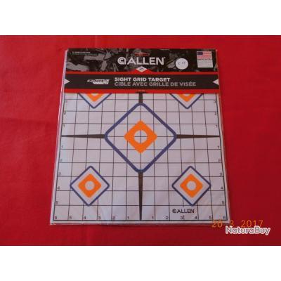 ALLEN 12 cibles   quadrillée  5 spots de tir   avec centre   30cmsX30cms