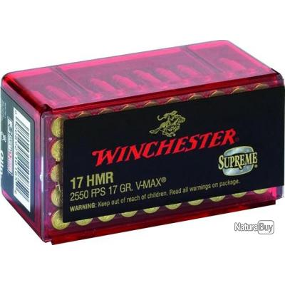 Balles Winchester 17 HMR- VMAX -17G - X50