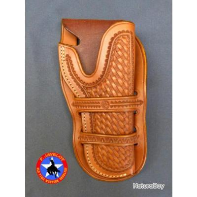 "PROMO 4- holster ""1911 WESTERN""  CAS - WILD BUNCH - BASKET par F. Javelot  - artisan."