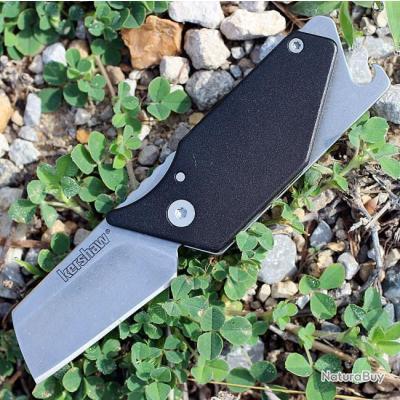 Lot de 2 Couteau Kershaw Pub Black Lame Acier 8Cr13MoV Manche Alu Ouvre Bouteilles KS4036BLK
