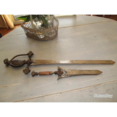 Glaive épée + poignard - type médièvale - entièrement forgé à la main