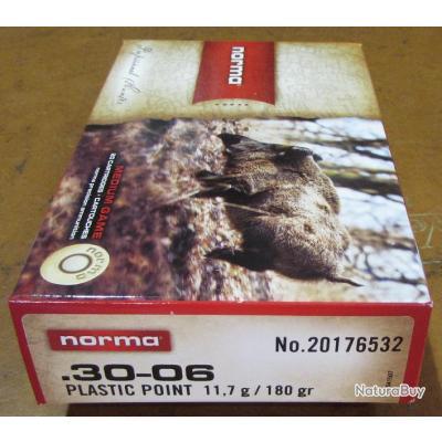 1 boite neuve de 20 cartouches  de calibre 30-06, Norma Pointe Plastique 180 grains / 11,7 grammes