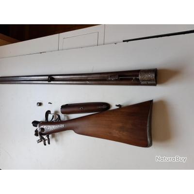 fusil juxtapose  belge  a broche canon tournant en calibre 16