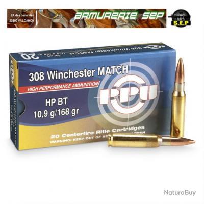 PPU partizan boite de 20 cartouches de calibre 308 win, 10.89 grs, 168 grs, ogives HPBT MATCH .